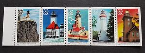 USA-1995-Lighthouse-Buildings-Architecture-5v-Se-tenant-Strip-Stamps-Mint-NH