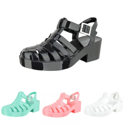 Womens ladies mid high platform jelly gladiator buckle strap jelly sandals size