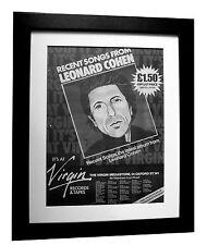 LEONARD COHEN+Recent Songs+POSTER+AD+FRAMED+ORIGINAL 1979+EXPRESS GLOBAL SHIP