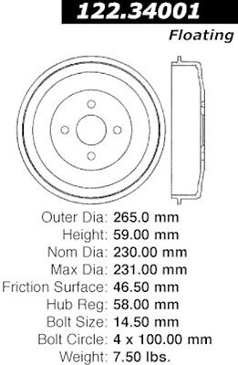 Centric Parts 122.34001 Rear Brake Drum