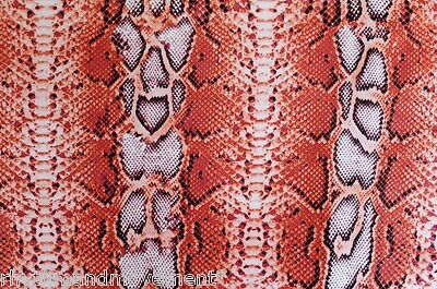 Dance Costume Lycra Fabric Orange Snake Skin Print 50cm - 150cm wide