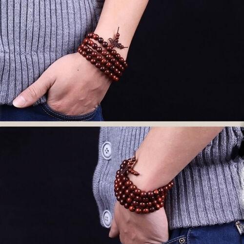 Rosenholz Mala 108 Perlen Buddhistische Gebetskette Rosenkranz Holz Armband F3W0