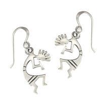 Sterling Silver Kokopelli Symbol Earrings Southwestern Tribal Glyph Jewelry