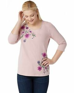 Denim-amp-Co-Womens-French-Terry-3-4-Sleeve-Top-Embroidered-Medium-Mauve-A351584