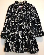 EUC Vintage Monterey Fashions Womens Faux Fur Coat Jacket Black & White Size 1X