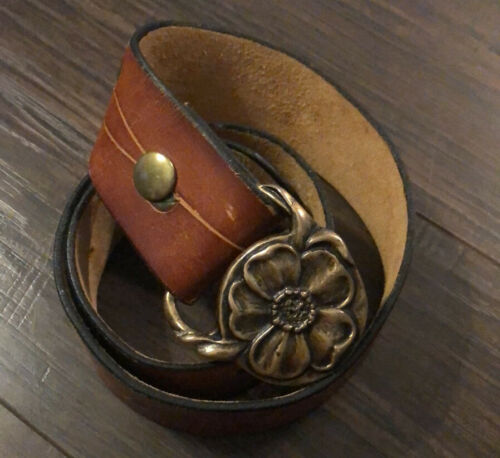 Poppy Belt Buckle Vintage 1970/'s Solid Brass Floral Nature Design Hippie Boho Retro
