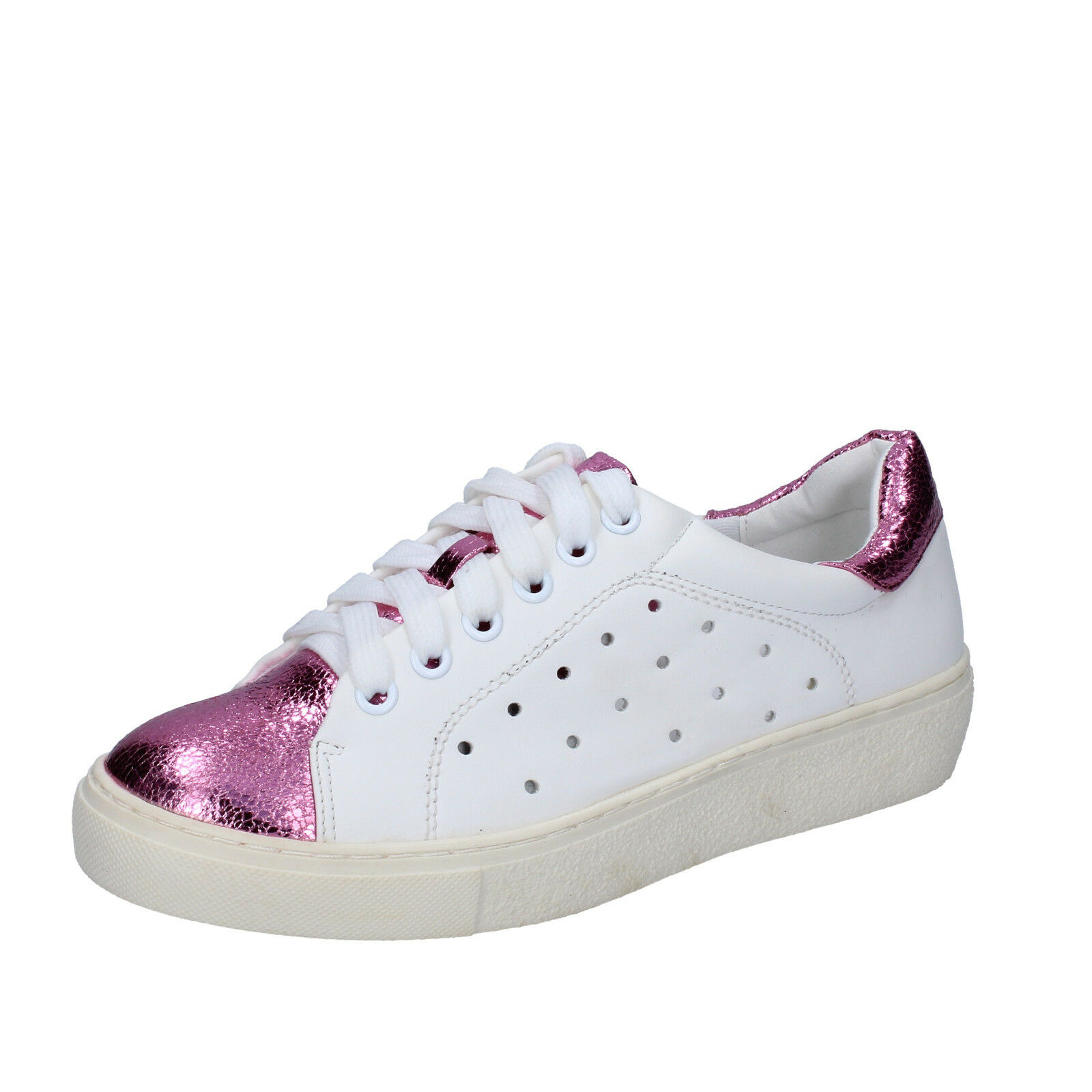 Womens shoes FRANCESCO MILANO 8 (EU 41) sneakers white pink leather BS78-41