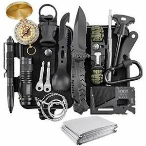 Gift for Men Dad Husband Him Survival Kit 17 in 1 Survival Gear Tool Cool Gad...
