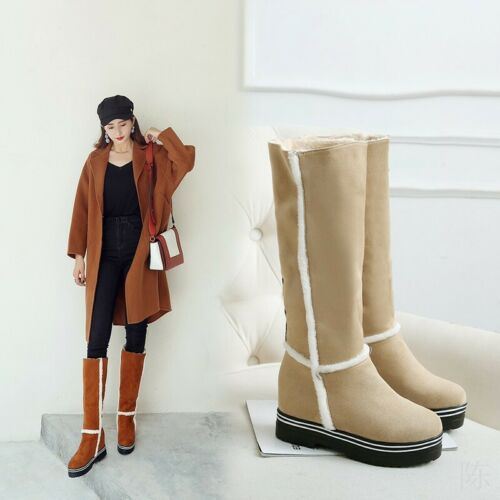 Women/'s Fleece Lining Pull On Round Toe Winter Warm Snow Casual Knee High Boots