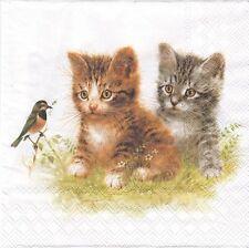 2 Serviettes papier Chatons Oiseau Decoupage Paper Napkins Kitten Friend