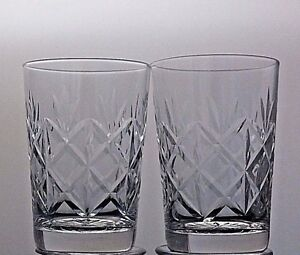 CUT-GLASS-CRYSTAL-WHISKY-FLAT-TUMBLERS-SET-OF-2-3-1-3-034-TALL