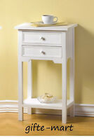 modern white small side End bedside Table shabby Night stand 2 drawer & shelf