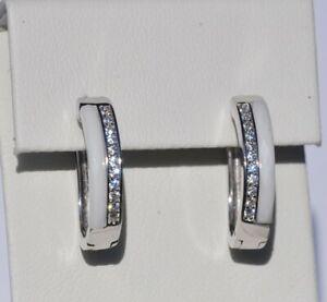 Echt-925-Sterling-Silber-Ohrringe-Creolen-weiss-Zirkonia-Hochzeit-Nr434