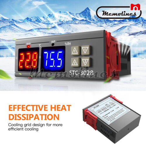 AC110-220V 10A STC-3028 Dual LED Temperature/&Humidity Control Thermostat Probe
