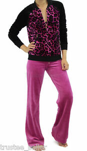 NWT JUICY COUTURE Leopard Pink Magenta Velour Jacket Pants Tracksuit ... 5de025feb