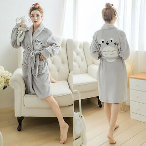 how to serch 2019 real enjoy clearance price Details about Women Winter Soft Flannel Bathrobe Cute Totoro Long Nightgown  Pajama Bath Robe