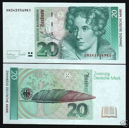 GERMANY 20 MARKS P39 1993 PEN BOOK PRE EURO UNC GERMAN CURRENCY MONEY BANK NOTE