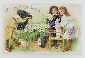 Postcard-Happy-Easter-Tucks-Girls-Boy-Bunny-Rabbit-Doing-a-Photo-Shoot-Camera