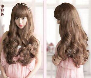 100% Real hair! Fashion Black and brown Face repair long wavy Really Hair wigs