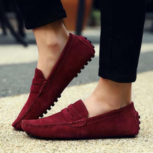 2019 Men Minimalism Driving Loafers Suede Leather Moccasins Slip On Penny Shoes