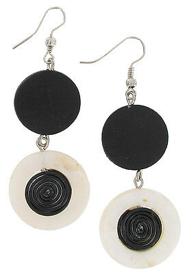 """Earrings Wood Black White Mother Of Pearl Circle Disc Bead 3"""""""