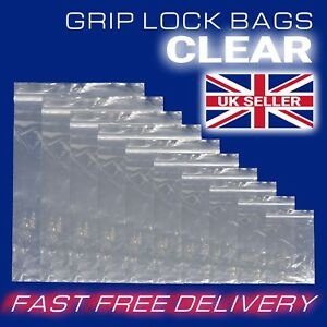 Clear-Grip-Lock-Plastic-Resealable-Self-Seal-Polythene-Bags-All-Sizes