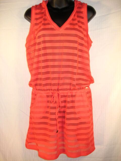 3c9a20faf555a Calvin Klein Womens Swimsuit Cover Up Dress Large Orange Sheer Stripe Hooded