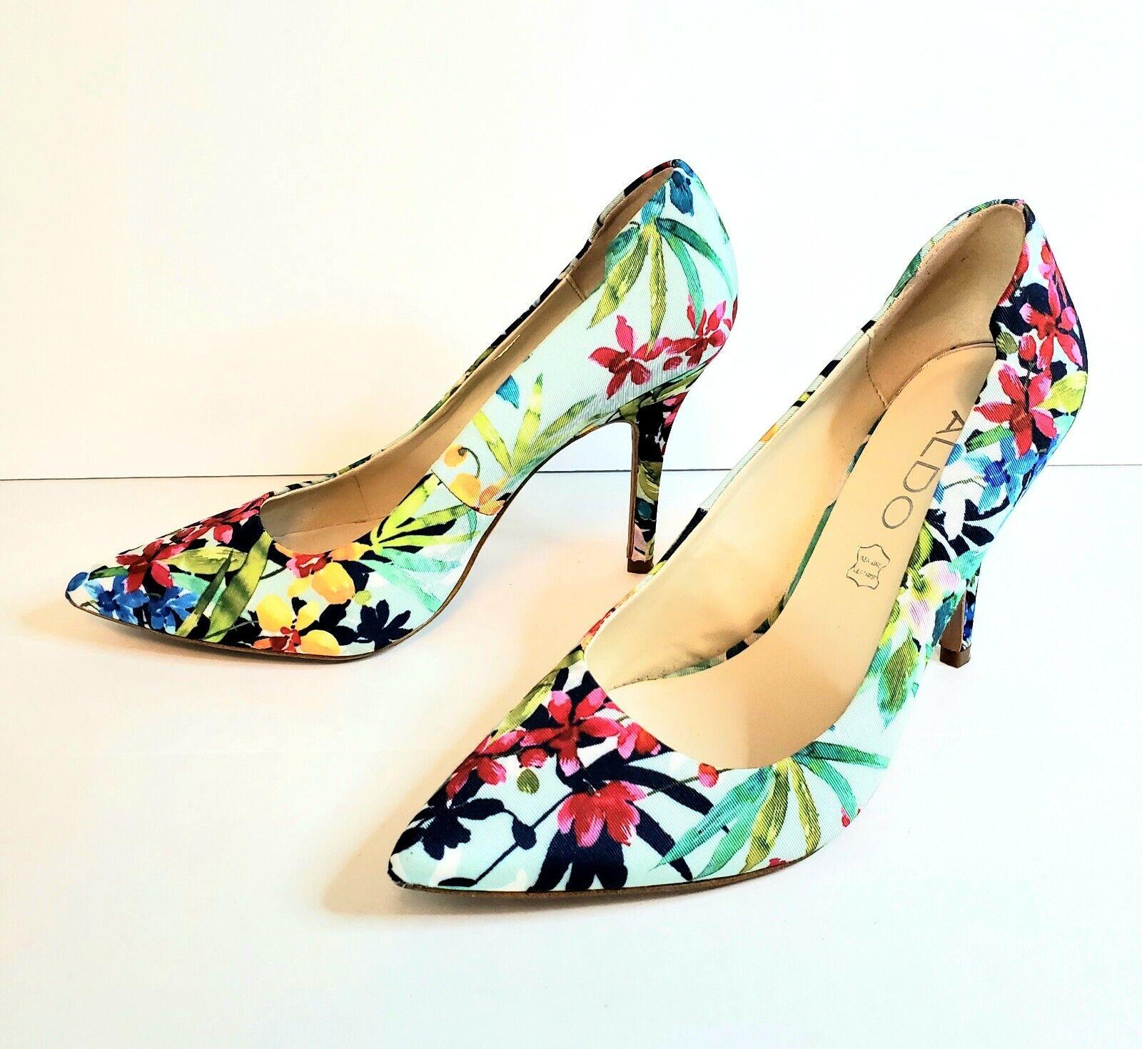 ALDO Ybuvia Womens Size 6.5 Floral Pointed Toe Stiletto High Heels Pumps EUC