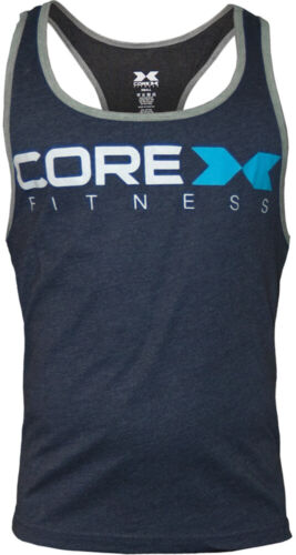 Corex Fitness Logo Mens Gym Vest Navy Blue Athletic Training Workout Tank Top