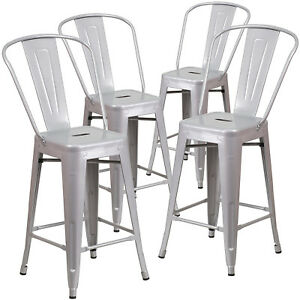 Amazing Details About New Set Of 4 Industrial Style Counter Height Stool W Back 24 Inch High Silver Forskolin Free Trial Chair Design Images Forskolin Free Trialorg