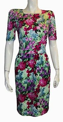 ADRIENNE VITTADINI Vintage Colorful Spring Floral 100% Cotton Dress Size Small