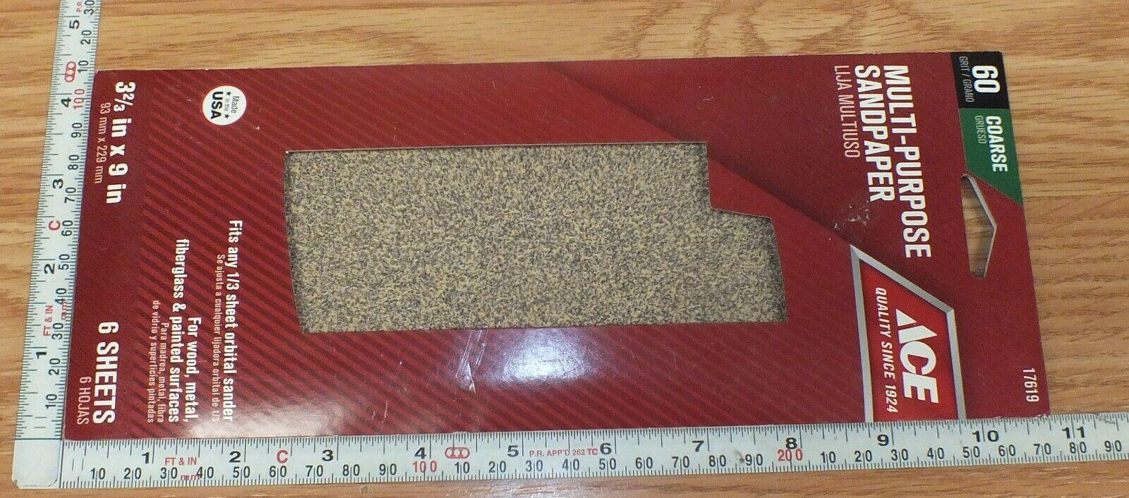 1//3 Sheet Sandpaper 60 Grit Fits 1//3 Sheet Orbital Sander Pack of 6 Ace 17619