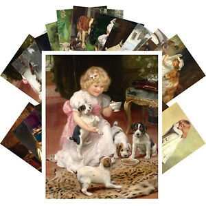 Postcards-Pack-24-cards-Kids-Kittens-Puppies-Vintage-Museum-Painting-CC1373