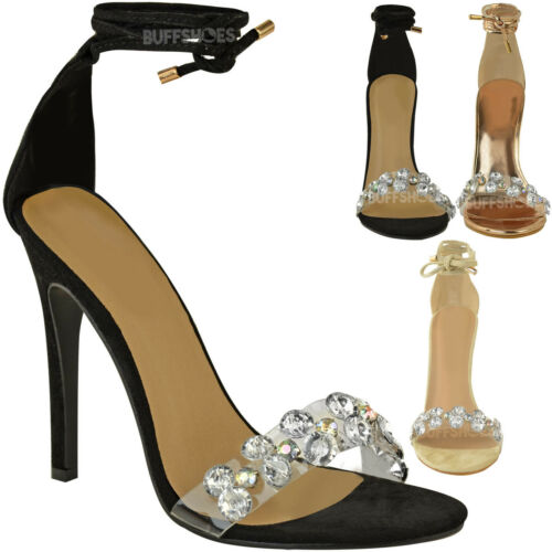 Womens Ladies High Heel Lace Tie Up Diamante Barely There Strappy Sandals Size