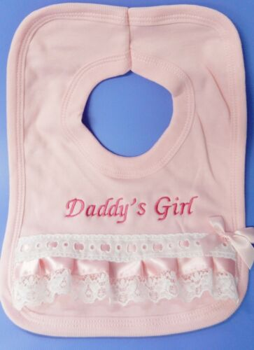 daddys girl pink Frilly lace pop over Bib,Christening Bridesmaid// flower girl//