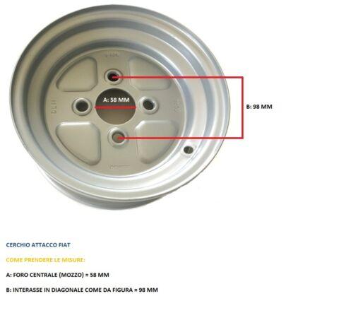DA 2.50.8 POLLICI ATTACCO FIAT PER GOMMA 4.00.8 //480 CERCHIO PER CARRELLI E RIM