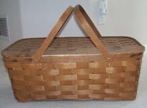 Image Is Loading Large Antique Split Wood Primitive Picnic Basket Blanket