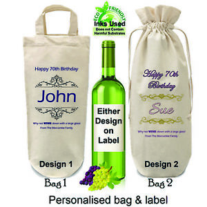 Image Is Loading Personalised 70th Birthday Bottle Bag And Label