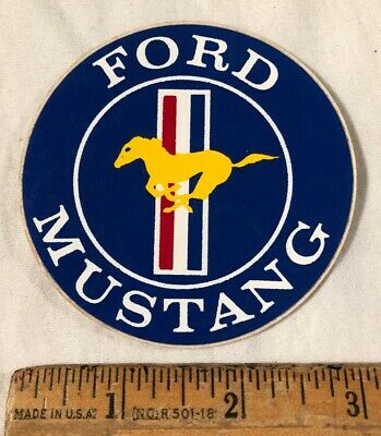 "Vintage 1970s Ford Mustang Logo Decal Bumper Sticker Prism Prismatic 11"" x 2.5"""