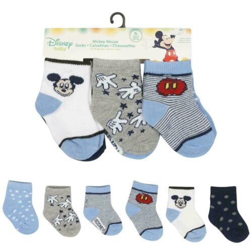 Disney Baby Mickey Mouse 6 Pairs Socks Infant Toddler Boys Blue 12-18 Mo  #21587