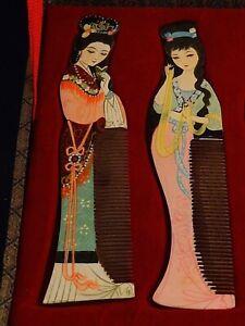 Style De Mode Ancienne Boîte Coffret Peignes Bois Chine Femme Asie Tenue Traditionnelle Déco