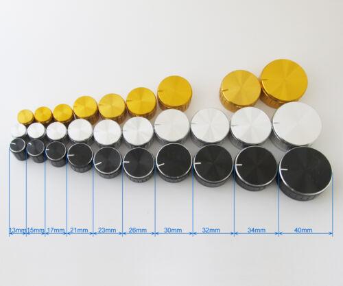 100pcs Variety Sizes Circular Knob Aluminium Cover for Audio Volume Tone Control