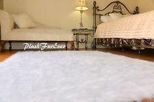 8' x 10' premium plush true white faux fur rectangle large room flokait rugs f3