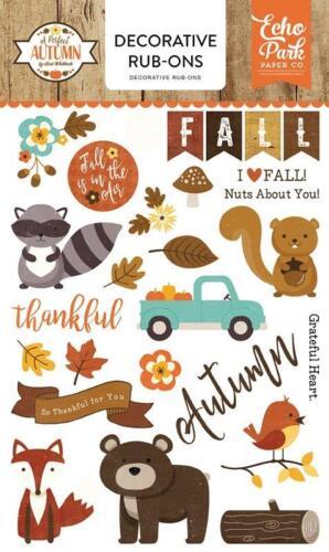 Echo Park A PERFECT AUTUMN Decorative 5x7 Rub ons Fall Thankful Family