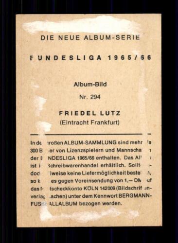 Friedel Lutz Eintracht Frankfurt Bergmann Sammelbild 1965//66 Original Signiert