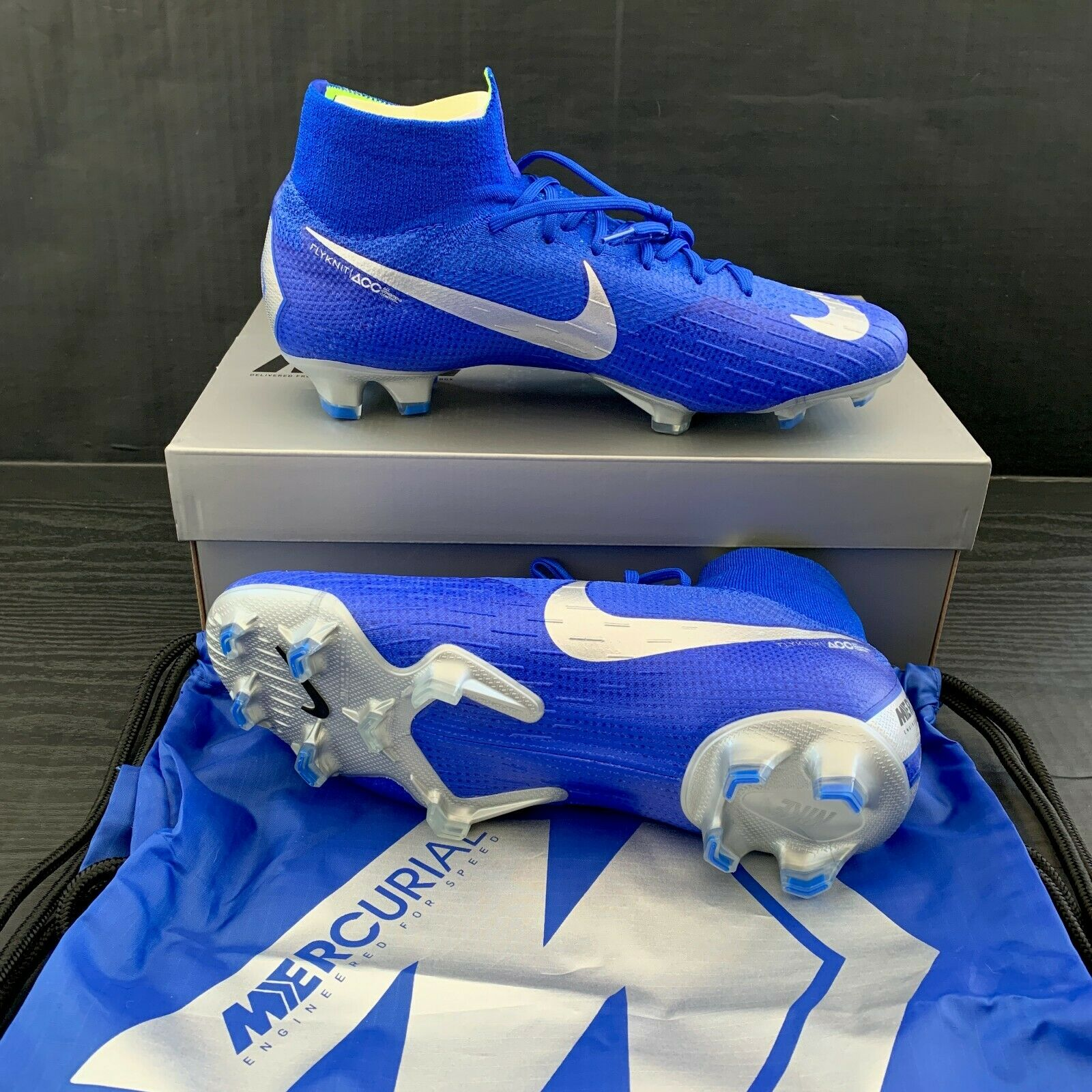NIKE MERCURIAL SUPERFLY 360 ELITE FG blueE SOCCER CLEATS SIZE 9.5 (AH7365-400)