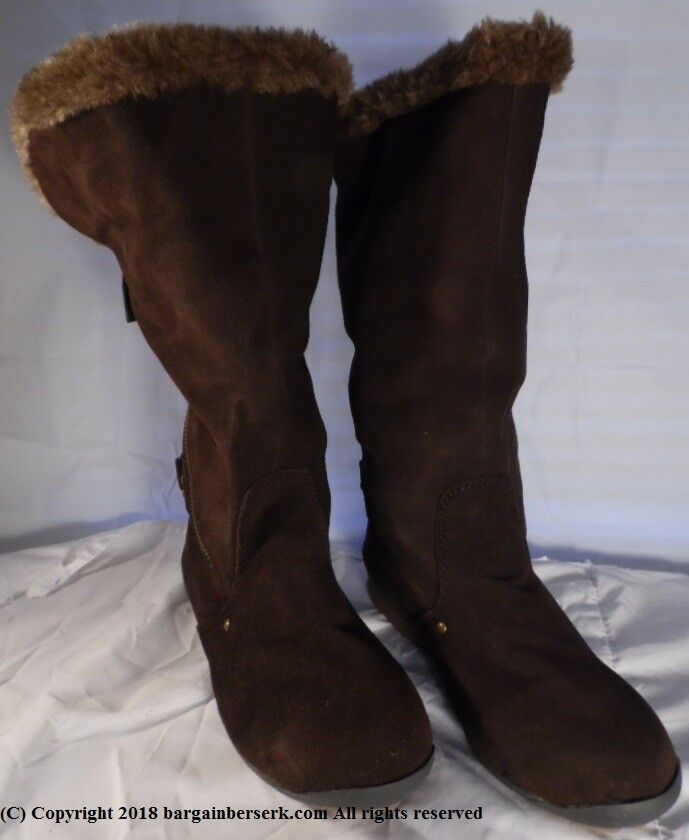 New Women's Sz 7 Brown Suede Cushion Zippered Fur lined  Boots MN155