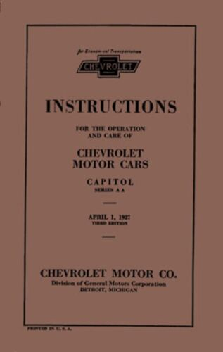 1927 Chevrolet Car Truck Owners Manual User Guide Reference Operator Book Fluids