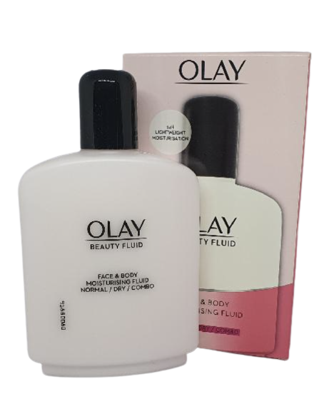 olay beauty fluid face and body moisturiser, 200ml normal, dry, combo