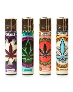 4-Full-Size-CLIPPER-Flint-Lighters-Refillable-ORIENTAL-CANNABIS-WEED-LEAF-Design